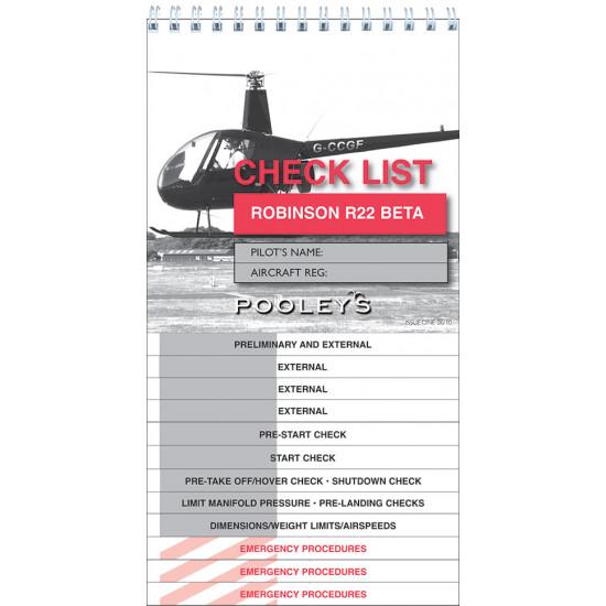 Чек-лист авиационный Pooleys Robinson R22 Beta Checklist