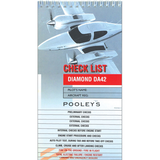 Чек-лист авиационный Pooleys Diamond DA42 Checklist