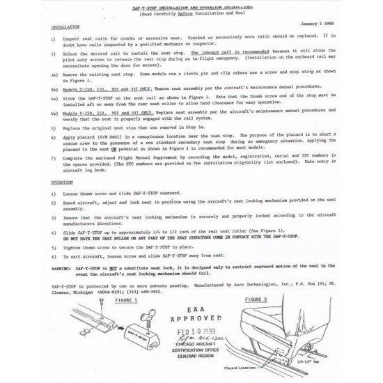 Механизм SAF-T-STOP фиксации сидений самолётов Cessna